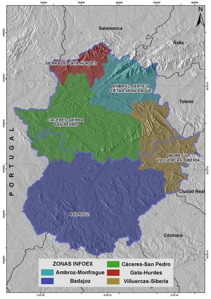 Mapa zonificación para la extinción de incendios en Época de Peligro Bajo